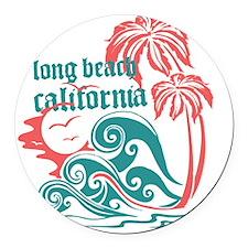 Wavefront Long Beach Round Car Magnet