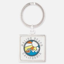 Malibu Wave Badge Square Keychain