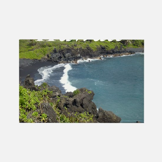 Black Sand Beach Maui Rectangle Magnet