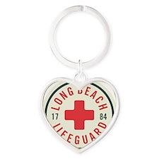Long Beach Lifeguard Badge Heart Keychain