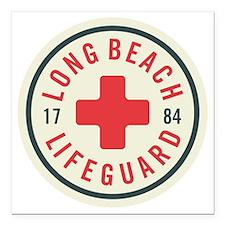 "Long Beach Lifeguard Bad Square Car Magnet 3"" x 3"""