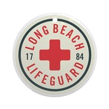 Long Beach Lifeguard Badge Round Ornament