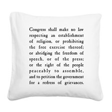 First Amendment Freedom of Sp Square Canvas Pillow