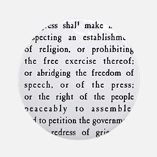 First Amendment Freedom of Speech Round Ornament