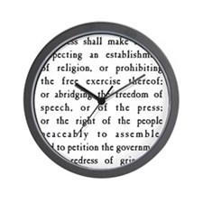 First Amendment Freedom of Speech Wall Clock