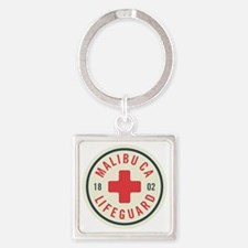 Malibu Lifeguard Badge Square Keychain