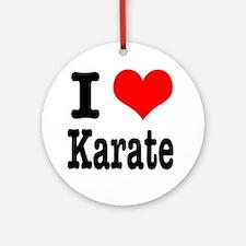 I Heart (Love) Karate Ornament (Round)