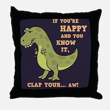 t-rex-clap-2-TIL Throw Pillow