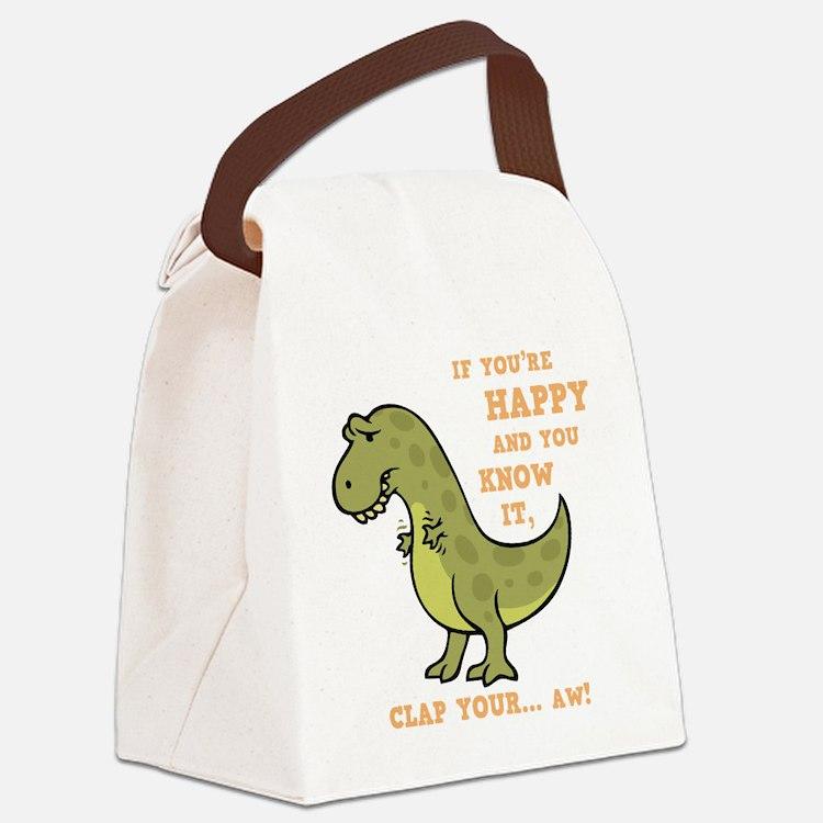 t-rex-clap-2-DKT Canvas Lunch Bag