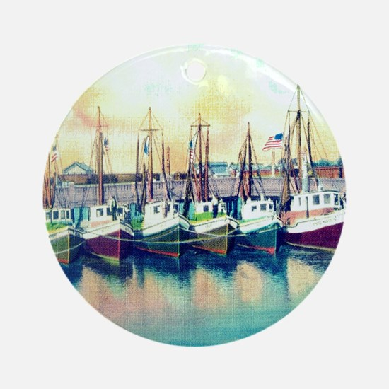 Vintage Shrimp Boat Post Card Round Ornament