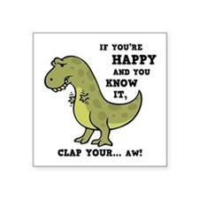 "t-rex-clap-2-LTT Square Sticker 3"" x 3"""