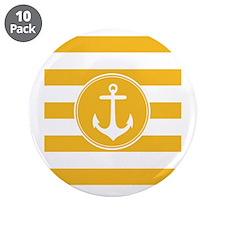 "Yellow nautical anchor stripes 3.5"" Button (10 pac"