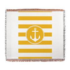 Yellow nautical anchor stripes Woven Blanket