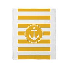 Yellow nautical anchor stripes Throw Blanket
