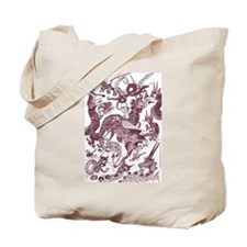 Brown Multidragon Tote Bag