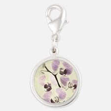 Light Orchids Silver Round Charm