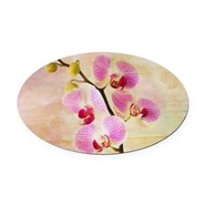 Pink Orchids Oval Car Magnet