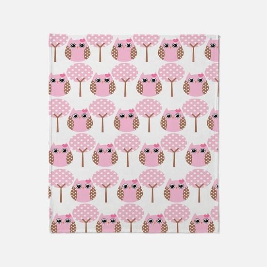 Pink Owls Throw Blanket