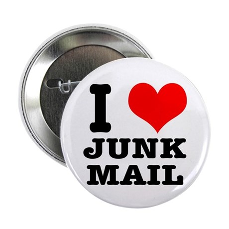 "I Heart (Love) Junk Mail 2.25"" Button (10 pack)"