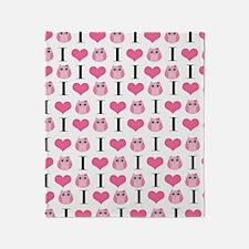 Pink Love Owls Throw Blanket