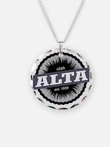 Alta Ski Resort Utah Black Necklace