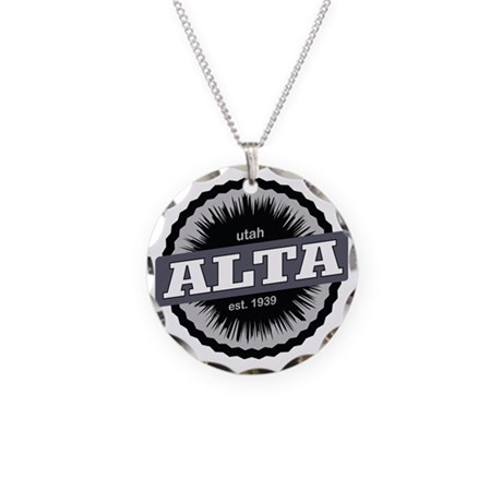 Alta Ski Resort Utah Black Necklace Circle Charm
