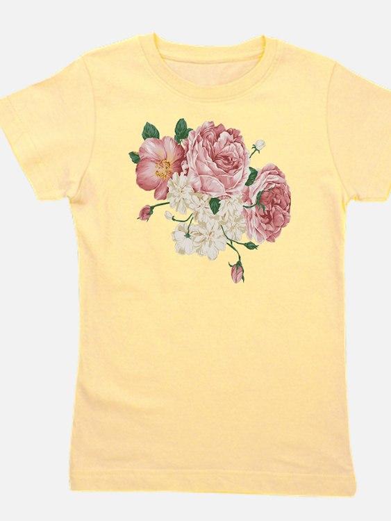 Pink Roses Flower Girl's Tee