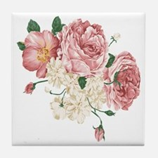 Pink Roses Flower Tile Coaster