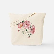 Pink Roses Flower Tote Bag