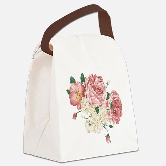 Pink Roses Flower Canvas Lunch Bag
