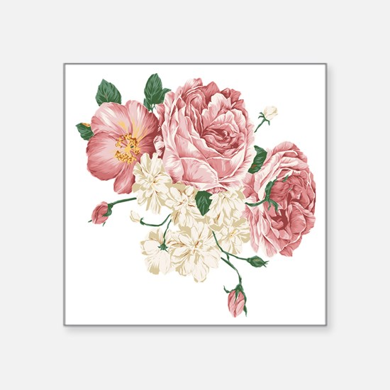 """Pink Roses Flower Square Sticker 3"""" x 3"""""""