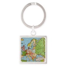 Map of Europe Square Keychain