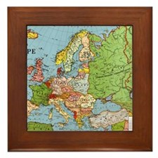 Map of Europe Framed Tile