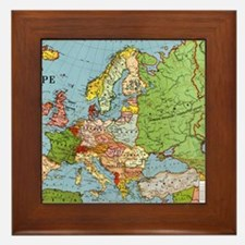 Map of Europe Framed Tile