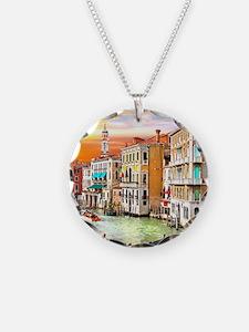 Venice Photo Necklace Circle Charm