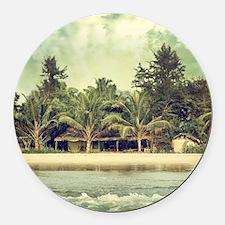 Vintage Beach Photo Round Car Magnet