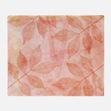 Peach Leaves Throw Blanket