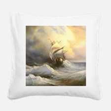 Vintage Sailboat Painting Square Canvas Pillow