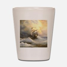 Vintage Sailboat Painting Shot Glass