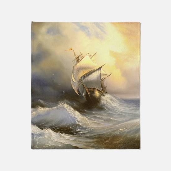 Vintage Sailboat Painting Throw Blanket