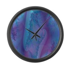 fancy blue and purple curtain Large Wall Clock