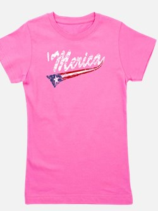 Vintage MERICA US Flag Style Swoosh Girl's Tee