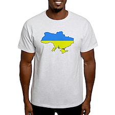 Flag Of Ukraine Map Outline T-Shirt