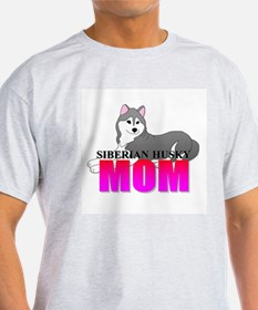 Gray Siberian Husky Mom T-Shirt