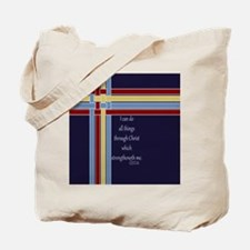 Philippians 4 13 Ribbons Blue Tote Bag