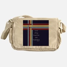 Philippians 4 13 Ribbons Blue Messenger Bag