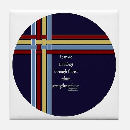 Philippians 4 13 Ribbons Blue Tile Coaster