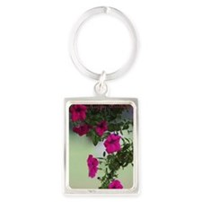 Pretty Petunias Birthday Card Portrait Keychain