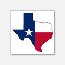 "Texas Flag Map Square Sticker 3"" x 3"""