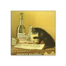 "Vintage Absinthe Black Cat Square Sticker 3"" x 3"""
